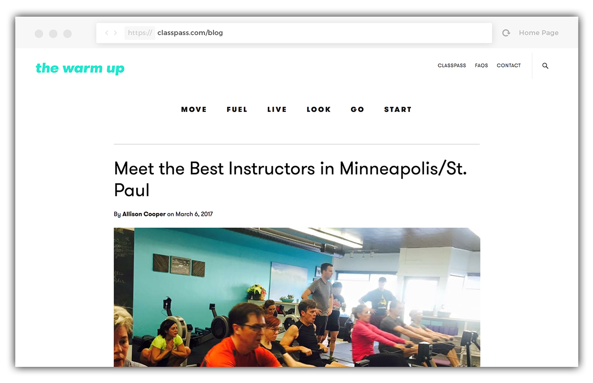 Classpass blog mention